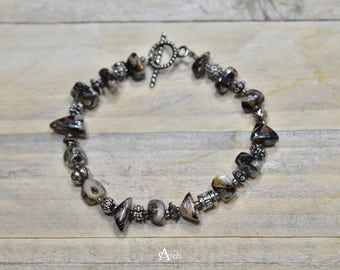 Polished Stone and Beaded Bracelet - Brown and Earth Tones
