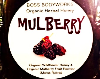 Organic MULBERRY Honey - 12oz - Morus rubra Herbal Infused Fruit Honey, certified kosher gluten-free non-GMO