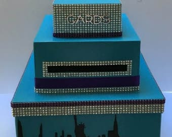 Turquoise & Purple  Birthday Wedding Card Box Bling Ribbon Bat Mitzvah New York Skyline