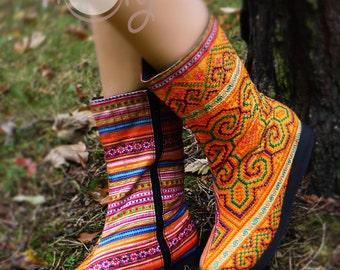 Women's Tribal Vegan Boots, Women's Boots, Tribal Boots, Vegan Boots, Hmong Boots, Hippie Boots, Boho Boots, Orange Boots, Ethnic Boots