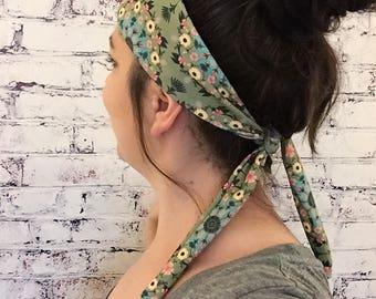 NEW! Tie-Back Headband - Gypsy Bird Nature Mandala - Yoga Headband - Boho Headband - Eco Friendly Fabric