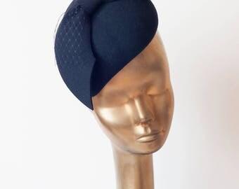 Navy Blue Felt FASCINATOR with Veil. Unique Pillbox Hat  for Modern Women