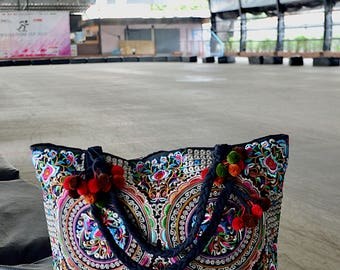 Vintage - Hmong Ethnic Embroidered Boho Women Handbag Thai Hill Tribe Tote Messenger Purse Bag XTOX71