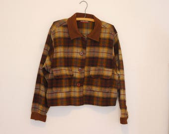 Brown Plaid Wool Jacket - Early 90s