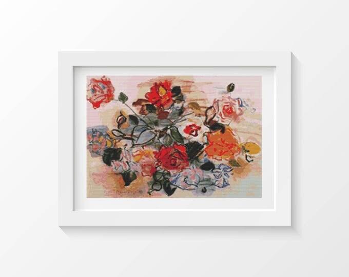 Cross Stitch Pattern PDF, Embroidery Chart, Art Cross Stitch, Floral Cross Stitch, Pink Bunch by Raoul Dufy (DUFY01)