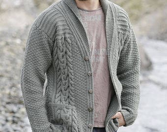 Hand knitted mens jacket cardigan aran style with cables and front pockets S - XXXL - men's clothes - knit cardigan - male knitwear