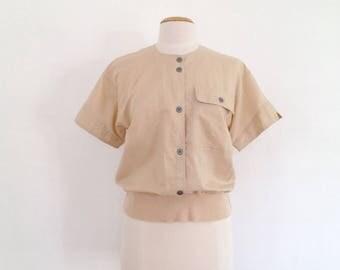 vintage 80s tops 80s clothing cotton top women khaki shirt 1980s clothes summer