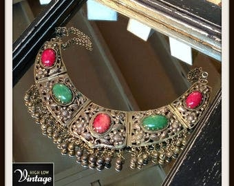 Vintage Silver Filigree Glass Stone Statement Necklace Bib Choker FREE SHIPPING