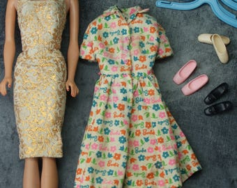 1960's Barbie Fashion Queen with Golden Girls and Barbie Learns to Cook Dresses - Pink, Black, and Ballet Shoes
