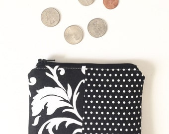 Black and White Coin Purse Floral  Polka Dot Coin Purse, Coin Pouch, Coin Bag, Small Coin Bag, Small Zip Pouch, Zipper Pouch
