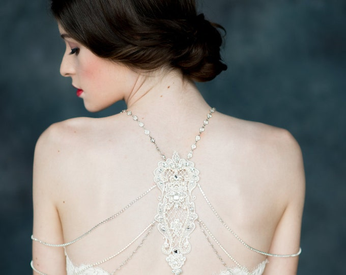 Silver Crystal Lace Shoulder Necklace, White Opal Crystal Necklace, Lace Back Necklace, Bridal Shoulder Piece, Shoulder Jewelry AZURE