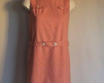 1960's Pink Linen Jumper Dress