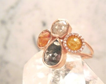 Unique Diamond Cluster Ring - Made to Order, Sold, Handmade, Natural Diamond Ring, Rose Cut, One Of A Kind, Conflict Free