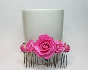 Flower Hair Comb, Pink Hair Comb, Pink Headpiece, Bridal Headpiece, Pink Wedding.