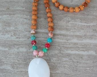 White Jade Sandalwood Mala - Meditation Inspired Yoga Beads / mala beads BOHO chic
