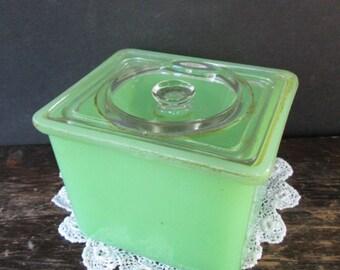 Sale Vintage Jadeite Square Refrigerator Storage Container