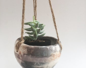 Smoke Fired Hanging Plant Hanger (#749)
