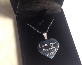 Engraved handwriting necklace gift for mum daughter gran