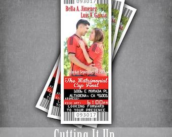 Soccer Wedding Invitations, Sport Wedding Invitations, Spanish Wedding Invitation, Custom Ticket, Soccer Ticket Invitation, FC, DC, Football