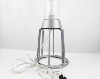 Glass Dome Lamp - Brushed Aluminum Nautical Lamp - Minimalist Lamp - Brutalist -  Steampunk - Industrial Chic - Canadian Standards Assoc.