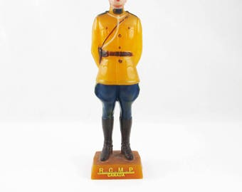 An R.C.M.P Canada Model - Royal Canadian Mounted Police Statue - PaintedCelluloid Collectible -  Pedestal Mount - Canadian Mountie