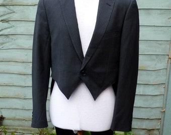 "Mens 40""Upcycled black pinstripe Tailcoat.Would fit women size UK 16 ,US 12"