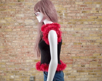final frontier chenille fringed top / sleeveless sweater / 90s chenille top / fuzzy top / rave girl / avant garde / streetstyle top