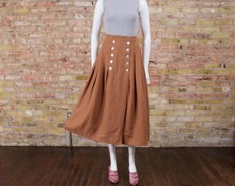 90s linen midi skirt / pleated midi skirt / brown linen skirt / minimalist / nautical skirt / full midi / summer / linen skirt