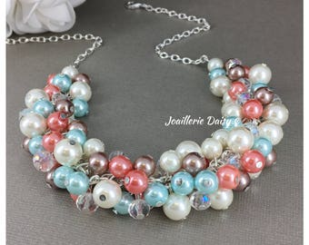 Aqua Coral Taupe Ivory Necklace Coral Necklace Bridesmaid Jewelry Bridesmaid Gift Maid of Honor Gift for Moms Pearl Cluster Necklace