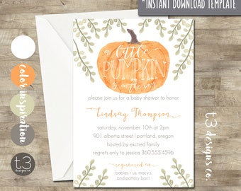 Little Pumpkin Baby Shower Invitation instant download diy pdf, girl or boy, fall baby shower, watercolor baby, neutral shower invite