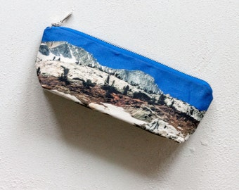 SALE Mountains Pencil Case, Printed Zipper Pouch, Blue Make Up Bag, Cotton Cosmetics Bag, Travel Organizer, Girlfriend Gift For Her