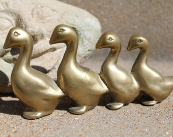 Vintage Brass Duck Family, Brass Geese, Brass Ducks, Four Ducks in a Row, Duck Family, Duck Figurine
