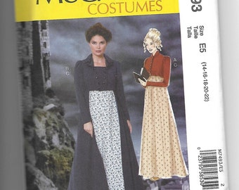 M7493 McCall's Jane Eyre Mid 1800s Costume Sewing Pattern Sizes 14-22