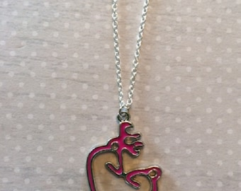 Hunting - Hunting Gifts - Deer Necklace - Deer Jewelry - Deer Pendant - Hunter Gifts - Buck and Doe Necklace - Buck and Doe - Heart Necklace