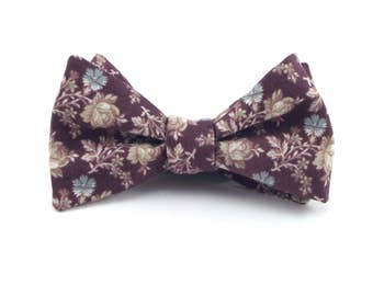 Plum Bow Tie, Mens Dusty Plum Floral Bowtie, Dusty Mauve, Soft Plum Purple, Floral Bow Tie, Plum Wedding - Traditional Self-Tie or Pre-Tied