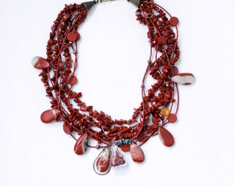 Red jasper statement necklace, multistrands with assorted jasper stones and glass bottle pendant