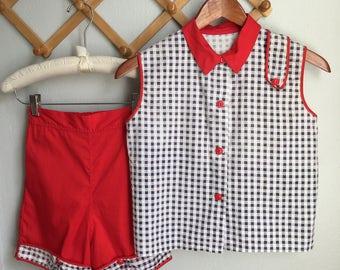 Vintage 1950s Set / 50s Girl Red Cotton White Black Checker Plaid Shorts N Shirt Set Atomic MidCentury High Waist Retro - Older Girl's Size