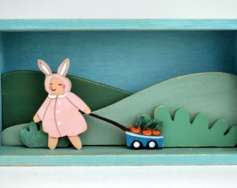 Children's room, nursery decor, christening keepsake, cute bunny girl, English landscape, little rabbit baby gift, Waldorf style, girl's