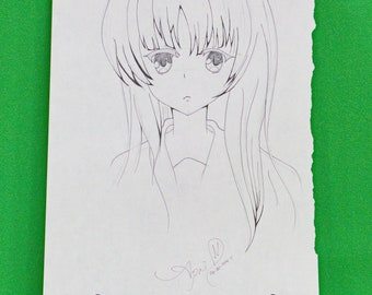 Original Signed Anime Art By April - Pencil Sketch, 9 X 12, No Title