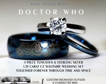 BLUE Doctor Who His 8mm Tungsten And Hers 4mm 925 Sterling Silver 1.25  Carat Solitaire CZ Amazing Pictures