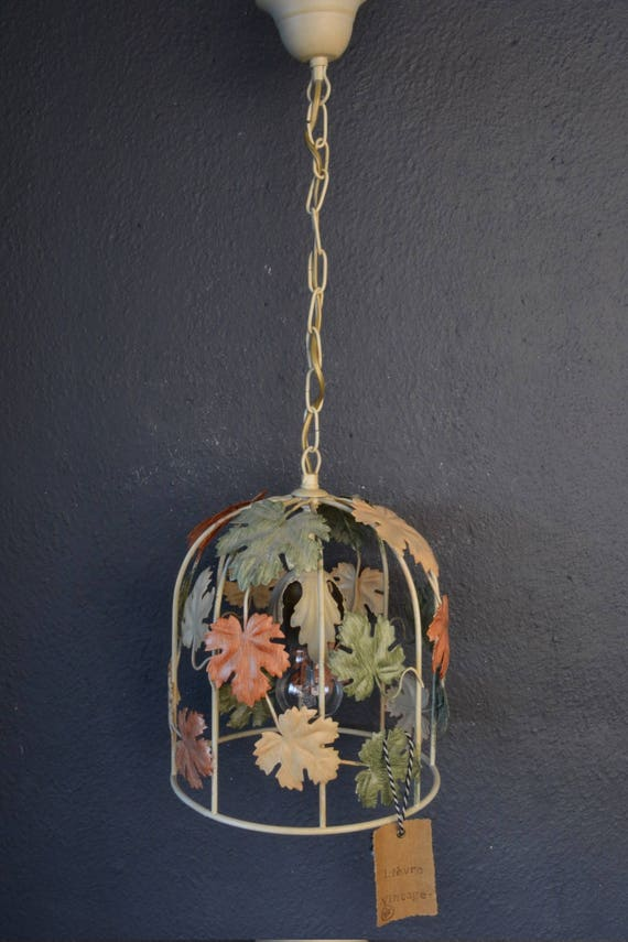 Small toleware chandelier with leaves