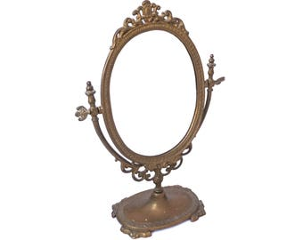 Vintage Art Nouveau Mirror, Brass Vanity Mirror, Oval Dressing Table Mirror, Free Standing Swivel Mirror, Ornate Standing Swing mirror