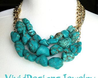 Turquoise Nugget Statement Necklace -  Turquoise Nugget Bib Jewelry - Coachella Fashion Necklace - Turquoise Statement Necklace