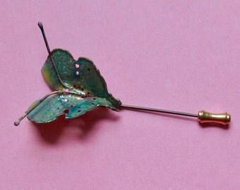 1980s Stickpin, Butterfly Stickpin, 90s Stick Pin, Green Metal Butterfly Stickpin with Sparkles, Pretty Green Insect Stickpin, Butterfly Pin
