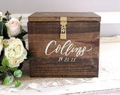"Wedding Card Box, Wooden Card Box, Large Card Box, Card Box with Locking Lid, Rustic Wedding Decor, B-1 | 10""x10"" (Personalized Names)"