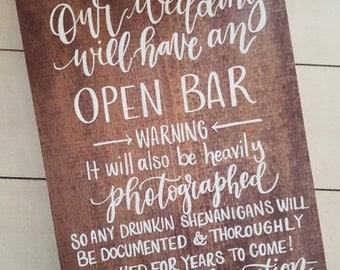 Wedding Open Bar Sign, Rustic Wedding Signs, Wooden Wedding Sign, Wedding Decor | 15x11