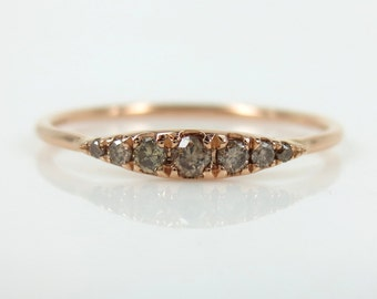 Seven-Stone Graduated Champagne Diamond Ring in 18K Rose Gold