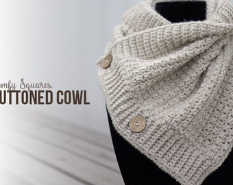 Comfy Squares Buttoned Cowl Crochet Pattern PDF (Button Crochet Cowl Pattern by Little Monkeys Crochet) Cowl Crochet Pattern Wool-Ease