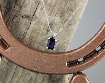 Purple Amethyst Pendant/Necklace -Sterling Silver Pendant/Necklace - Sterling Silver Setting with an 8mm x 6mm African Amethyst