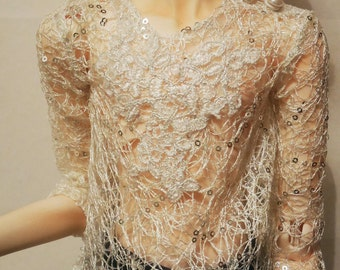 BJD - Sequined net shirt with lace applique for SD/70cm